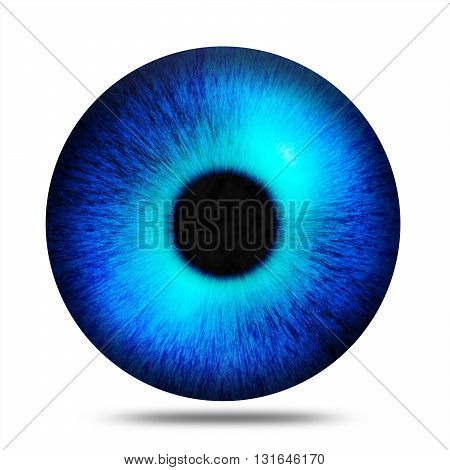 Isolated abstract blue eye pupil against white background illustration