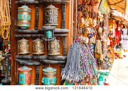 Close up photo of a souvenir shop in Kathmandu
