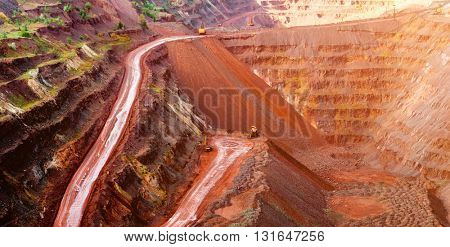 metal ore extraction quarry in sunlight in Krivyi Rih, Ukraine