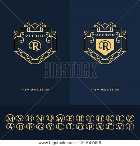 Vector illustration of Line graphics monogram. Abstract logo alphabet . Vector template in trendy mono line style. Letter emblem R. Minimal Design elements for company logo Restaurant Royalty Boutique Cafe Hotel