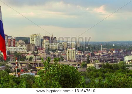 Belgorod city. Russia. View of the central part of Belgorod in the direction of the train station.