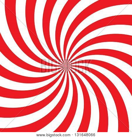 Swirling radial vortex background. White and red stripes swirling around the center of the square. Vector illustration in EPS8 format.