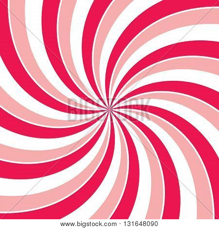 Swirling radial vortex background. Pink red and white stripes swirling around the center of the square. Vector illustration in EPS8 format.