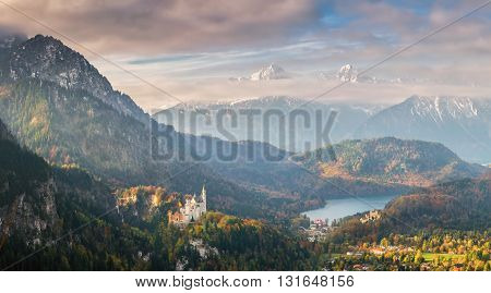 Landscape With Neuscwanstein Castle And Alpsee