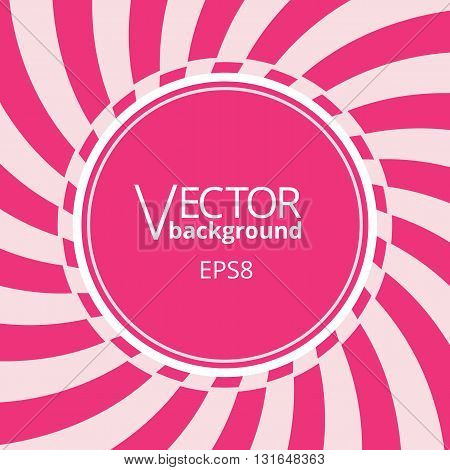 Swirling radial vortex background. Pink stripes swirling around the round blank badge in center of the square. Vector illustration in EPS8 format.