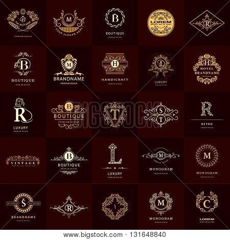 Vector illustration of Line graphics monogram. Vintage Design Templates Set. Business sign Letter emblem. Vector logotypes elements collection Icons Symbols Retro Labels Badges Silhouettes. Collection 25 Items.