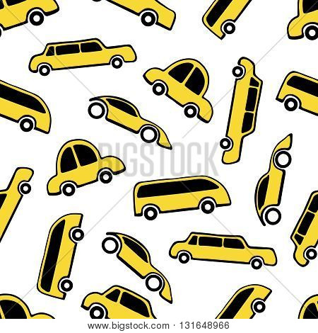 Seamless pattern of taxi cars on white background.