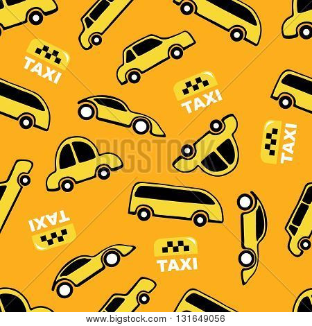 Seamless pattern of taxi cars on yellow background.