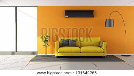 Orange Living Room With Air Conditioner