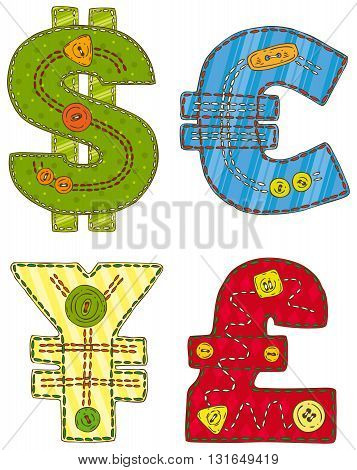 Collection of Patchwork Currency Symbols Isolated on a White Background
