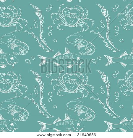 Seamless texture with fish, crab and  shrimp  on  aquamarine background. Vector  pattern.