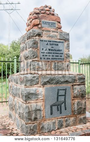 MIDDELBURG SOUTH AFRICA - MARCH 8 2016: A monument for two Boer commanders in the Second Anglo-Boer War who were executed tied to a chair by the British troops at this spot