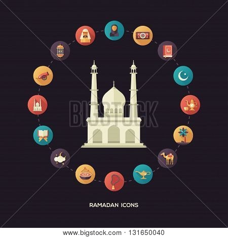 Set of modern vector flat design postcard template with icons of islamic holiday, culture Ramadan. Muslim male, female, camel, cannon, mosque, prayer beads, lamp, drum