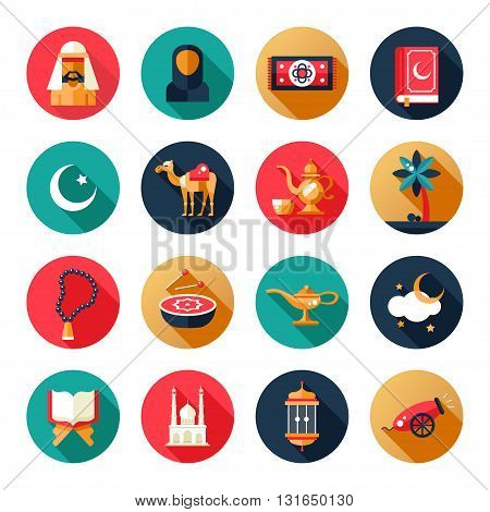 Set of modern vector flat design circled icons of islamic holiday, culture. Muslim male, female, camel, cannon, mosque, prayer beads, lamp, drum