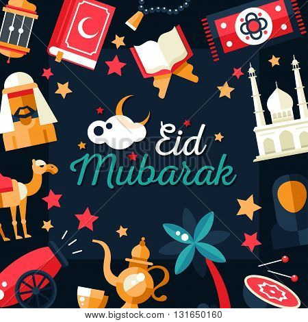 Set of modern vector flat design postcard template with icons of islamic holiday, culture, traditional greeting Eid Mubarak. Muslim male, female, camel, cannon, mosque, prayer beads, lamp, drum