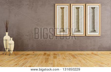 Empty Brown Vintage Room