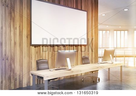 Toned Office With Blank Banner