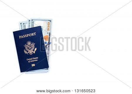 Dollar banknotes inside american passport isolated on white background. Mock up