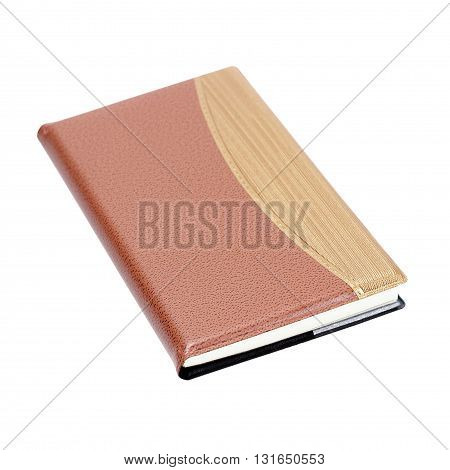 The notebook isolated on white background. brown color