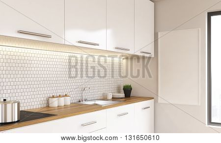 Side view of white luxury kitchen interior with blank whiteboard and window. Mock up 3D Rendering