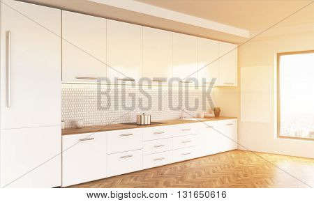 Side view of luxury kitchen interior with white furniture wooden floor blank whiteboard and window with city view. Toned image. 3D Rendering