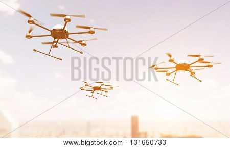 Quadrocopters Over City Toning