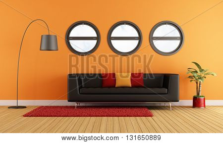 Modern Living Room With Black Couch