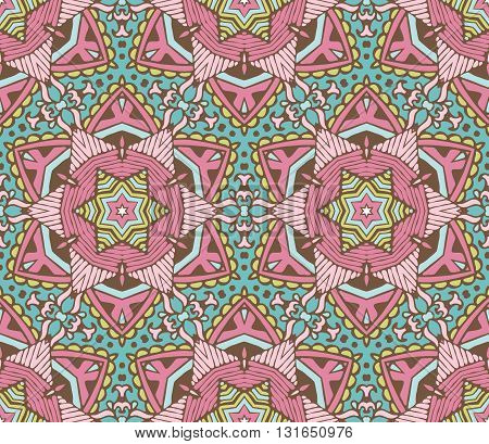 Vector abstract ethnic seamless pattern tribal background. Endless geometric print