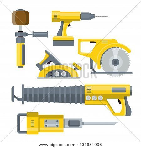 Industrial equipment constructor template mockup vector set