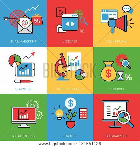 Business process concept vector illustration set Line web image