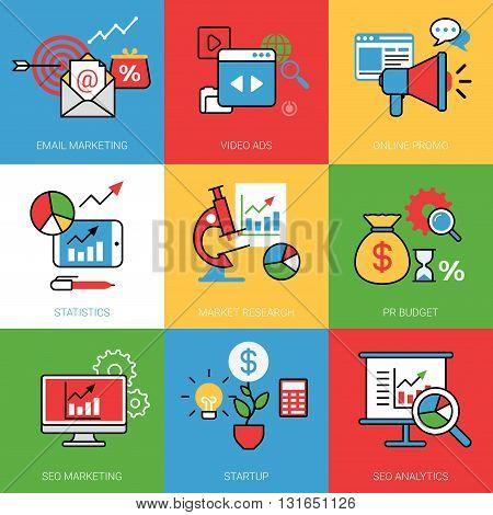 Business process concept vector illustration set Line web image