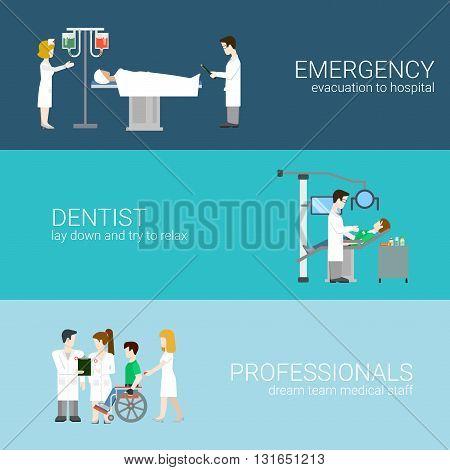 Medical elements staff patients flat concept vector illustration