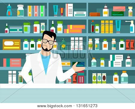 Pharmacist drug store workplace Flat web vector illustration