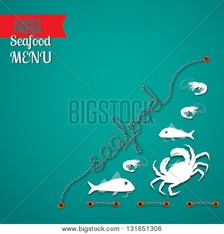 Vector seafood menu  composition with place for your text on aquamarine background.