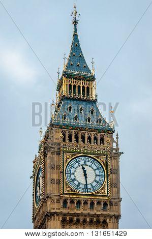 Big Ben Tower closeup, Blue sky. London UK