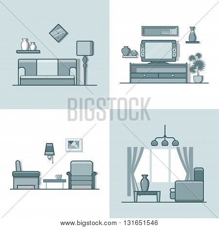 Living room interior indoor set. Linear monocolor stroke outline flat style vector icons. Monochrome icon collection.