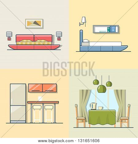 Bedroom kitchen living dining room interior indoor set. Linear multicolor stroke outline flat style vector icons. Color icon collection.