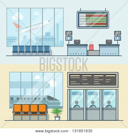 Airport registration reception desk railway train station ticket desk office interior indoor set. Linear stroke outline flat style vector icons. Color icon collection.