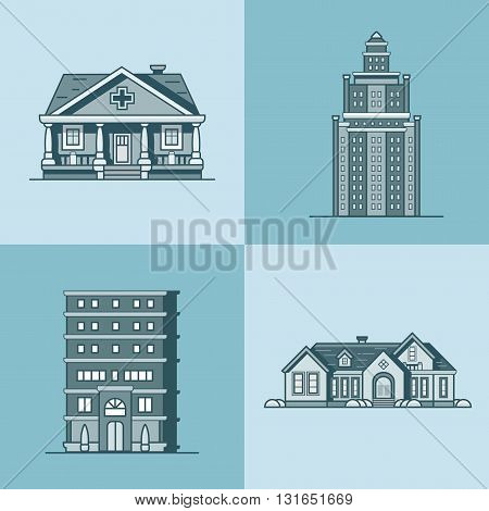 City town house architecture public building set. Linear stroke outline flat style vector icons. Monochrome icon collection.