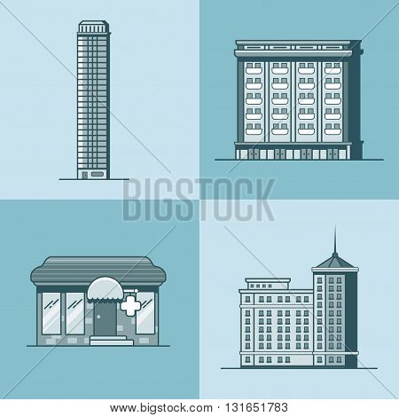 City town skyscraper hotel house pharmacy drug store architecture building set. Linear stroke outline flat style vector icons. Monochrome icon collection.