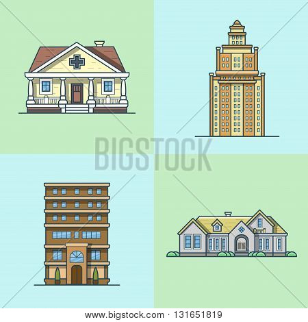 City town house architecture public building set. Linear stroke outline flat style vector icons. Multicolor icon collection.