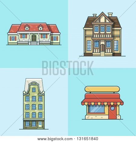 City town house cafe restaurant architecture building set. Linear stroke outline flat style vector icons. Multicolor line art icon collection.