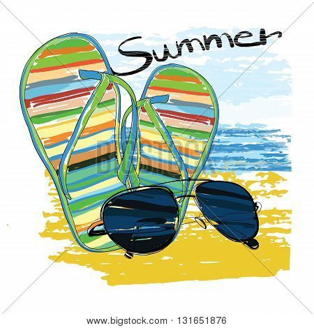 Vector illustration of background summer with lettering, sunglasses, shales, sky and sea.