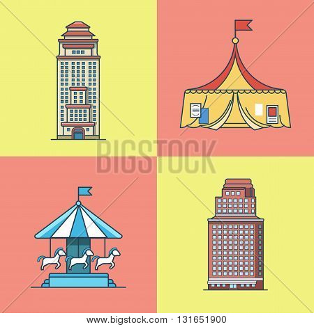 City town skyscraper house attractions park circus carousel architecture building set. Linear stroke outline flat style vector icons. Multi color icon collection.