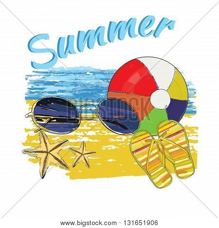 Vector illustration of background summer with lettering, ball, sunglasses, shales, sky and sea.