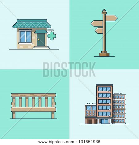 City object bench signboard architecture pharmacy drug store hotel building set. Linear stroke outline flat style vector icons. Multi color icon collection.