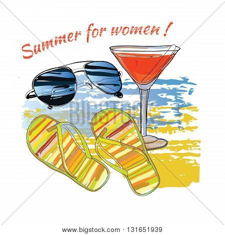 Vector illustration of background summer with lettering, sunglasses, shales, sky and sea.Summer for women