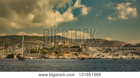 View of Bodrum Castle on Turkish Riviera.