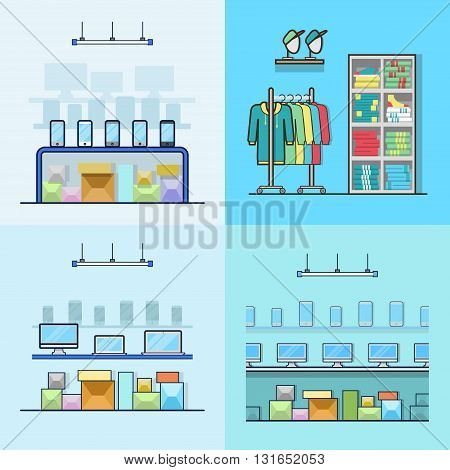Electronics smartphone laptop computer technology high tech shop boutique clothes clothing store interior indoor set. Linear stroke outline flat style vector icons. Color icon collection.