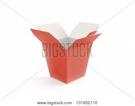 Opened blank fast food box mockup stand isolated 3d rendering. Empty clear noodle carton box mock up. Take away chicken paper bag template. Meal container fries packaging. Nuggets wings wok pack.